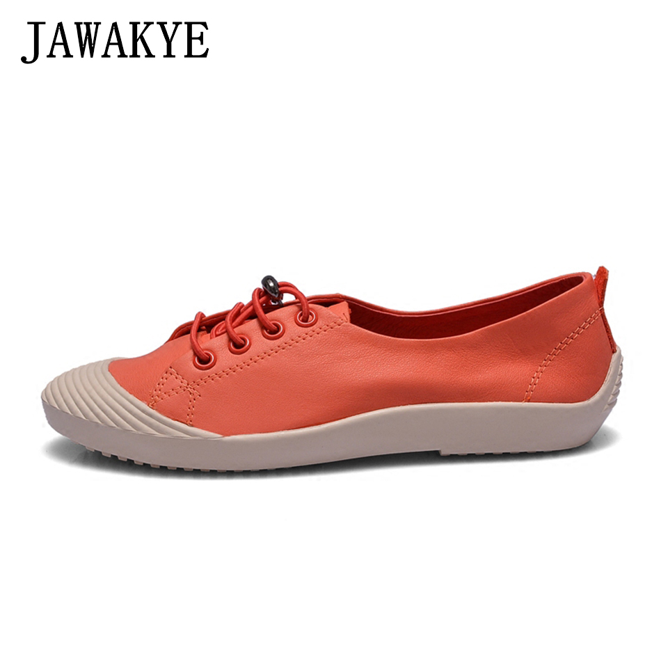 New Leather Flat Women Shoes Patchwork Leather Shoes For Women Flat Casual Shoes Ladies Classic Lace Up Leisure Shoes Woman