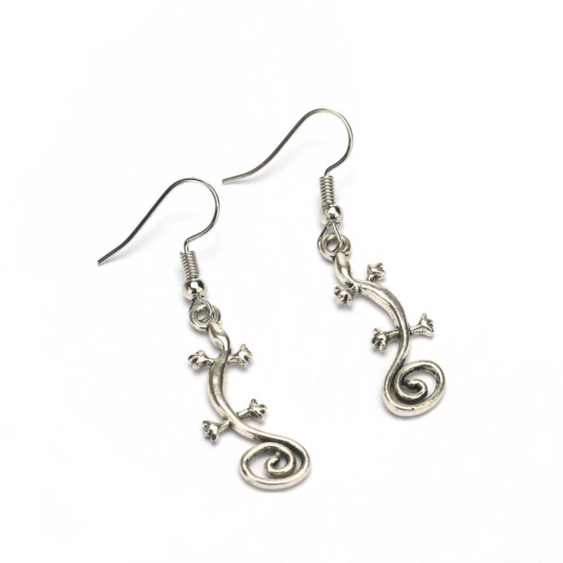 797e37238 Free Shipping Wholesale Vintage SWIRL TAIL GECKO LIZARD LONG DROP Dangly  Earrings For Women Tibetan Silver Reptile 1Pair S8024