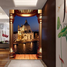 3D  Custom Wallpaper European Castle with romantic light at night