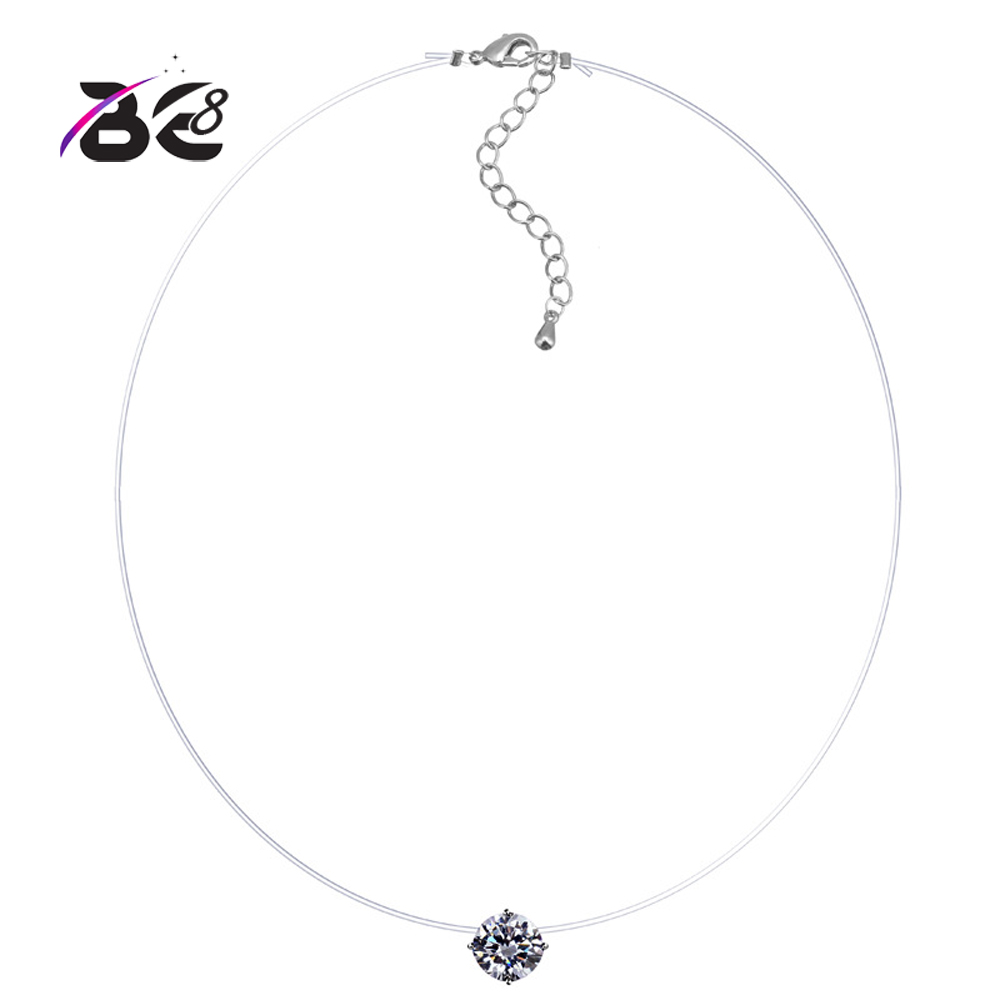 Be 8 Bling Round Shape AAA Cubic Zirconia Necklace Pandent for Women Fashion Fishing Line CZ Accessories Girls Party Gifts N-052