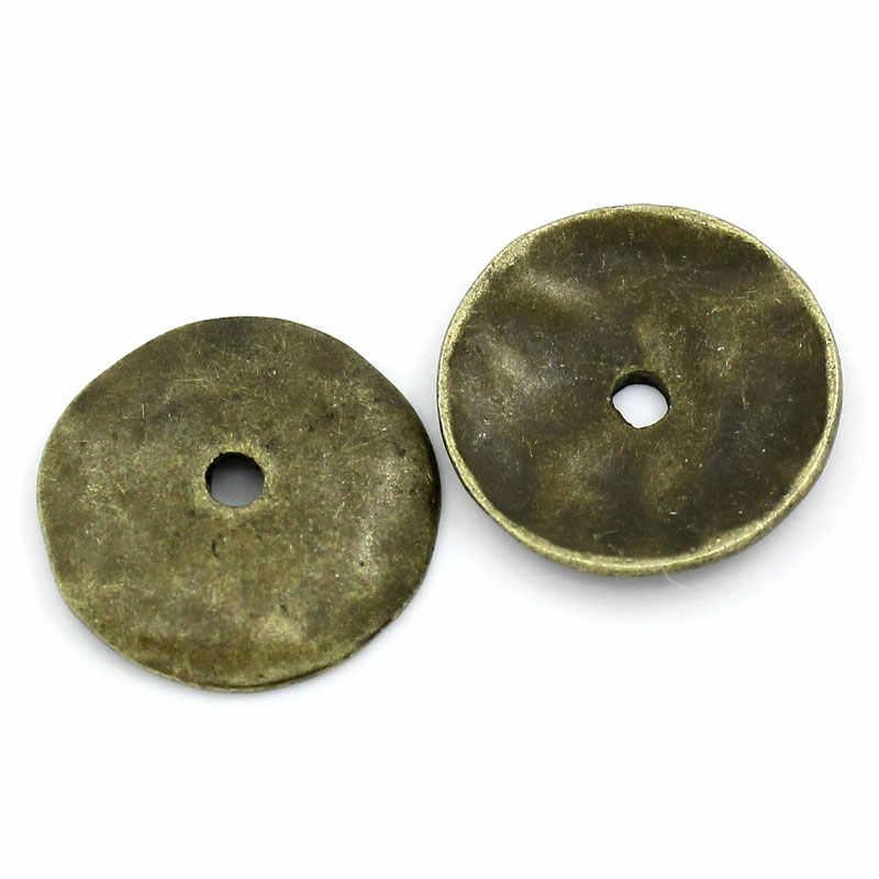 """Perles entretoises en alliage de Zinc, rondes, couleur Bronze Antique, plaquées d'environ 13mm (4/8 """") de diamètre, trou: environ 1.5mm, 15 pièces"""