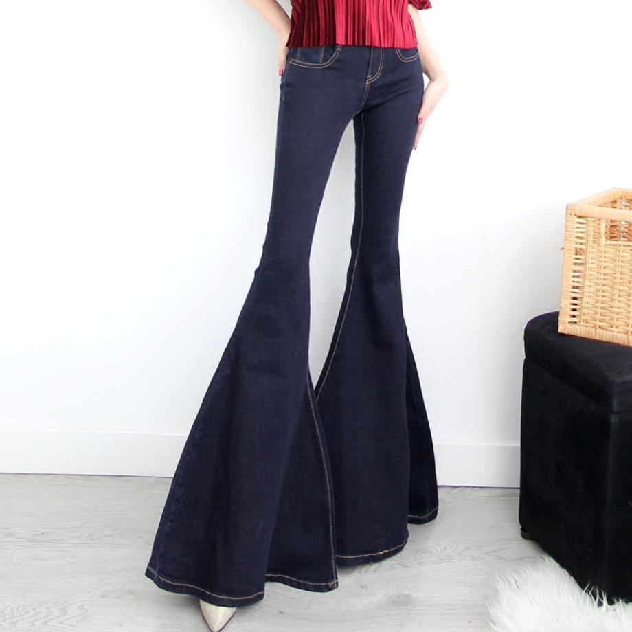 Fashion Women Super Flare Leg Jeans Spring Autumn Bell Bottom Jeans Pants Ladies Mermaid Wide Jeans Plus Size