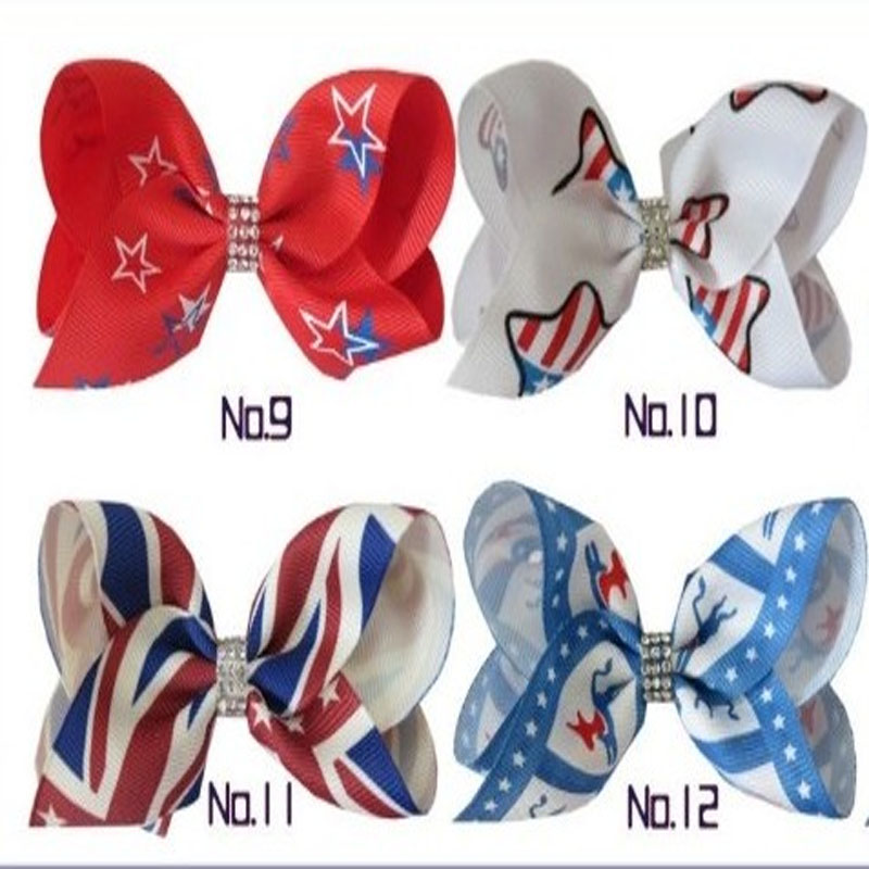 2017 new 200 BLESSING Good Girl Boutique 3.5 ABC Hair Bow Clip National Flag Accessories