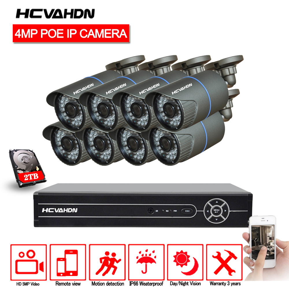 HCVAHDN 8CH 5MP 1080 p 4 K HDMI POE NVR Kit de sistema de cámara CCTV 4.0MP al aire libre de la cámara de seguridad IP de P2P sistema de Video Vigilancia Conjunto
