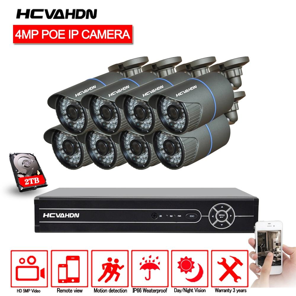 HCVAHDN 8CH 5MP 1080 p 4 k HDMI POE NVR Kit CCTV Sistema di Telecamere di 4.0MP Esterna di Sicurezza IP Della Macchina Fotografica P2P video Sistema di Sorveglianza Set