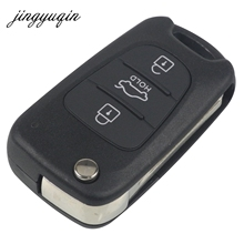 jingyuqin Car Key Shell For KIA For Hyundai ix35 3 Buttons Flip Folding Remote Fob Case With Hold Button FOB