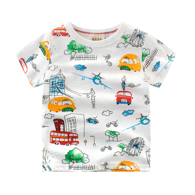 Kids Girls T-Shirts Cotton Short Sleeve Tops for Girls Colorful Cars Children T shirt 2 3 5 6 7 8 Years Baby Girl Summer Clothes стоимость