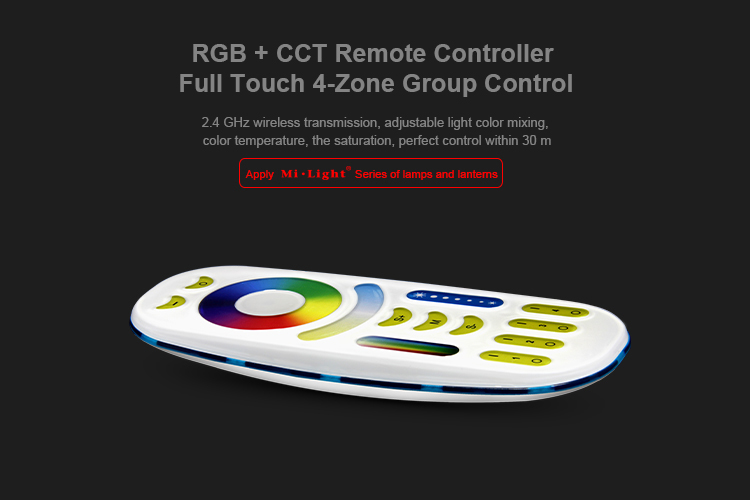 Mi Light <font><b>FUT092</b></font> 2.4GHz RGBWW RGB+CCT Remote controller 2 in 1 Full touch 4-zone group control for RGB+CCT led lamp bulb series image