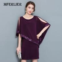 Women Summer Chiffon Dress Plus Size Fashion Sequin Batwing Sleeve Off Shoulder O-Neck Half Sleeve Purple Black Mini Dress