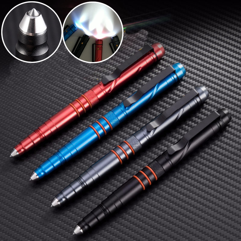 Portable Outdoor EDC Self Defense Tactical Pen With Led Light Emergency Strobe SOS Glass Breaker Writing Pen Birthday Gift