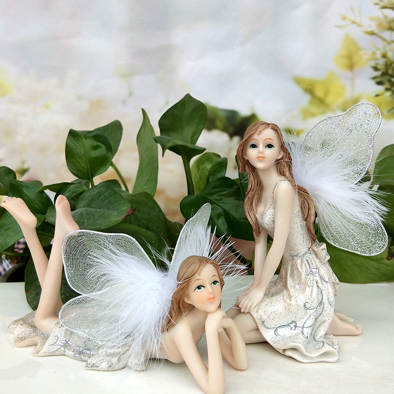 Garden fairy Resin crafts angel ornaments home garden decorations decrative crafts Car Decor Europe Style White Angels