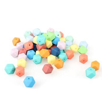 30/100/200/500 Uds. Mini hexagonal de silicona de 14mm mordedor de cuentas para bebé BPA collar DIY Cadena de chupete cuidado de la dentición del bebé