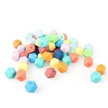 30/100/200/500pcs 14mm Mini Hexagon silicone beads Baby Teether BPA Free DIY Nec