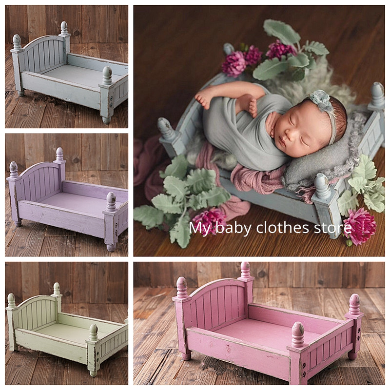 Small Wooden Bed Original Design Colorful Optional Baby Bed Foldable And Removable Bed Newborn Photography Props