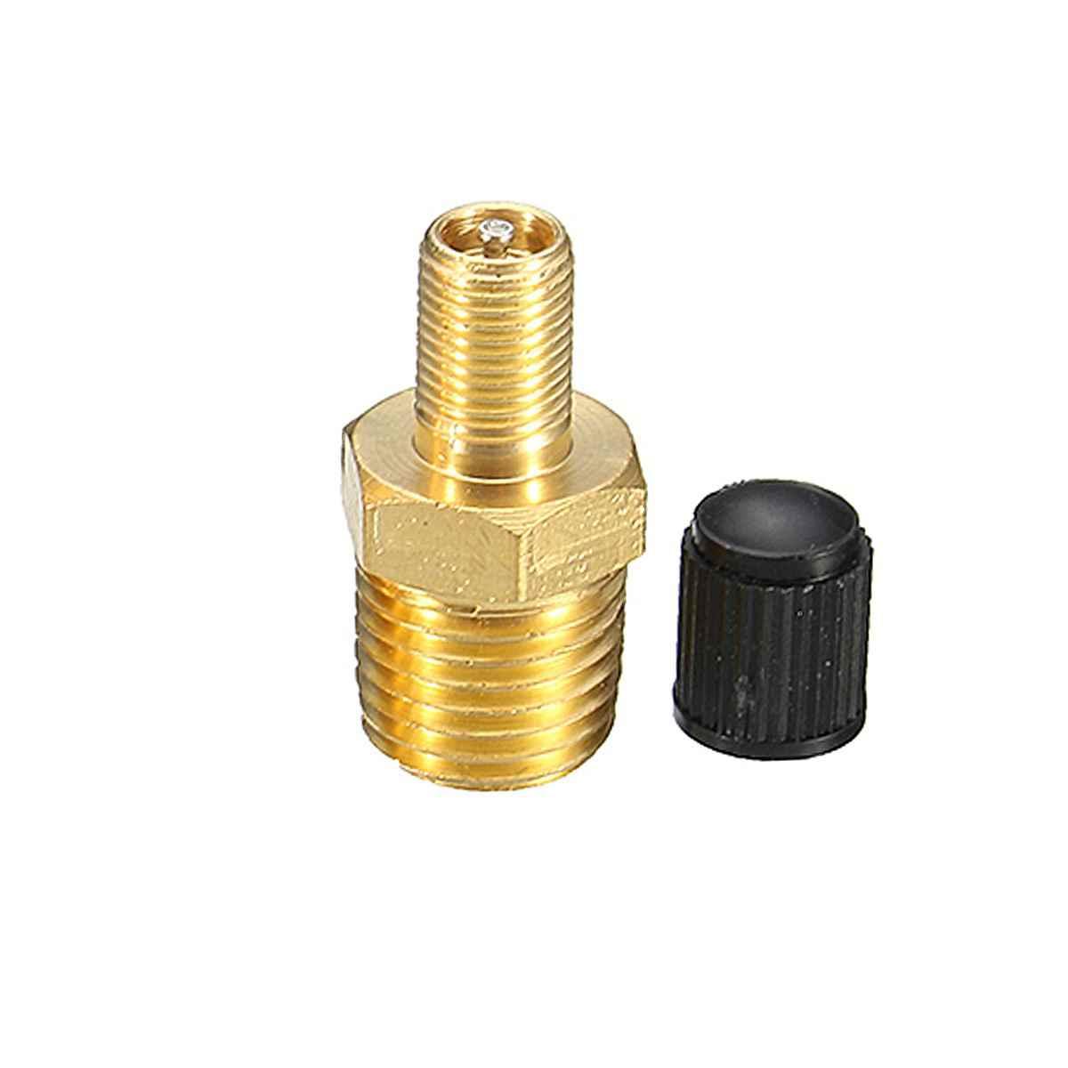 2 pezzi//set doppia testa professionale 1//8NPT MPT compressore daria in ottone serbatoio valvola di riempimento Schrader Accessori auto-oro e nero