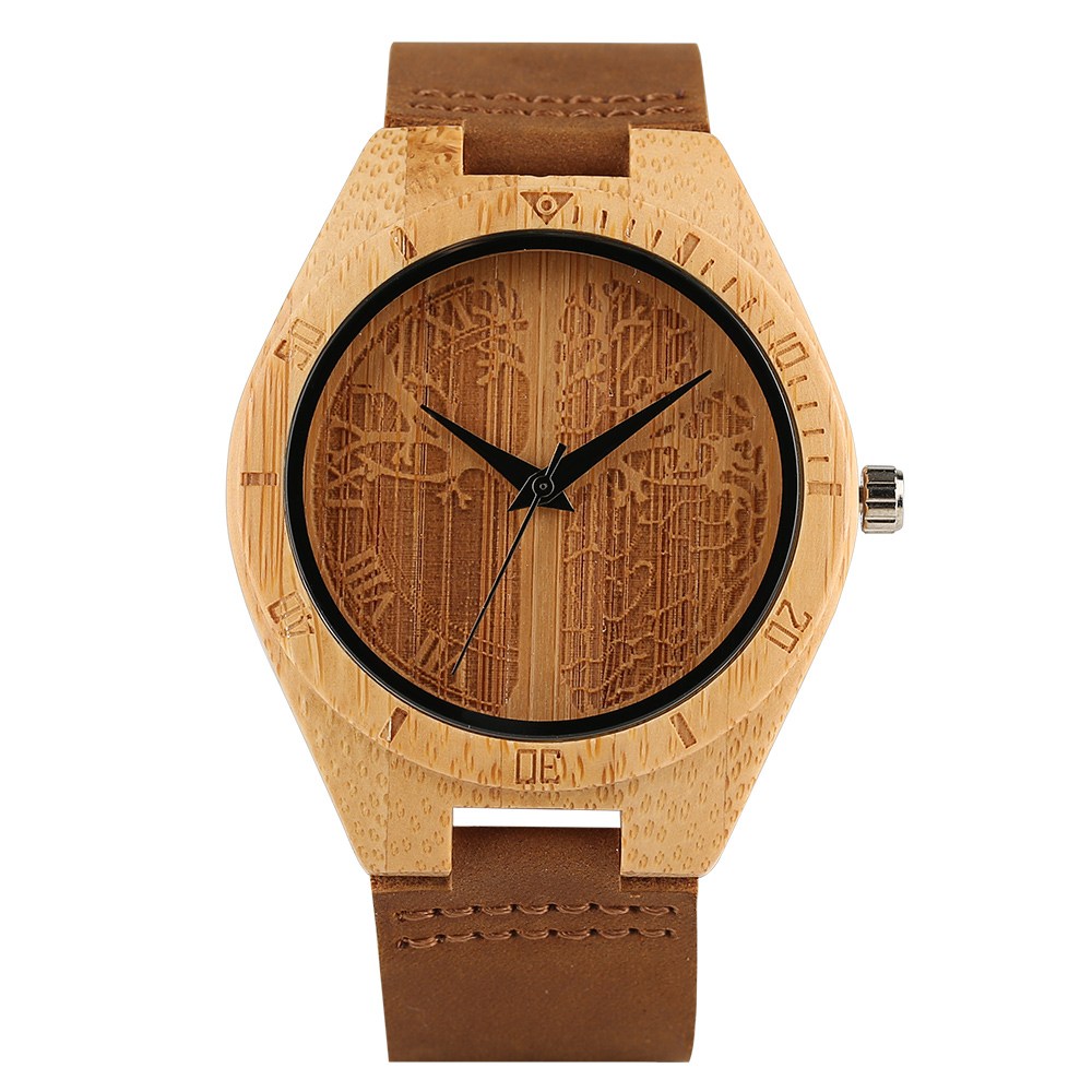 Carving Life Tree Wooden Watch Men Casual Nature Bamboo Wood Quartz Clock Genuine Leather Band Strap Modern Timber Wrist Watch yisuya inverted triangle bamboo wood wrist watch men top brand genuine leather band strap quartz creative watches wooden clock