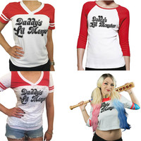 Suicide Squad Harley Quinn Daddy S Lil Monster T Shirt 2016 Harley Quinn Cosplay Costume Women