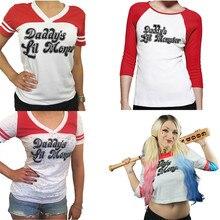 Esquadrão suicida Harley Quinn Papai Lil Monstro Camiseta 2016 Harley Quinn Cosplay das Mulheres Tee 1 PC