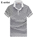 E-artist Men's Slim Fit Casual Plaid Pattern Short Sleeve T-Shirts Male Cotton Polo Shirts Tees Tops Plus Size 5XL T21