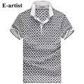 E artista-Teste Padrão da Manta dos homens Slim Fit Casuais Camisas Pólo de Algodão de Manga Curta T-shirt Masculina Tees Tops Plus Size 5XL tamanho T21