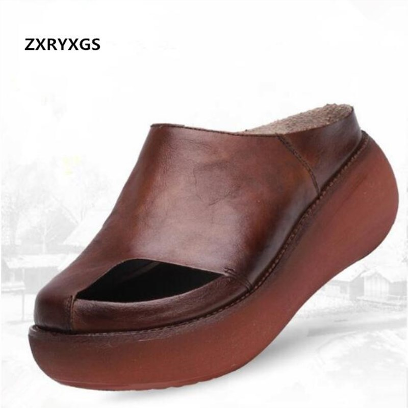 ZXRYXGS Brand Shoes Summer Women Sandals Platform Slipper 2018 New Leisure Slope with Increase Cow Leather Sandals Women Slipper leisure women shoes wedge high heel slope sandals open toe summer slip on party sandals waterproof platform slipper