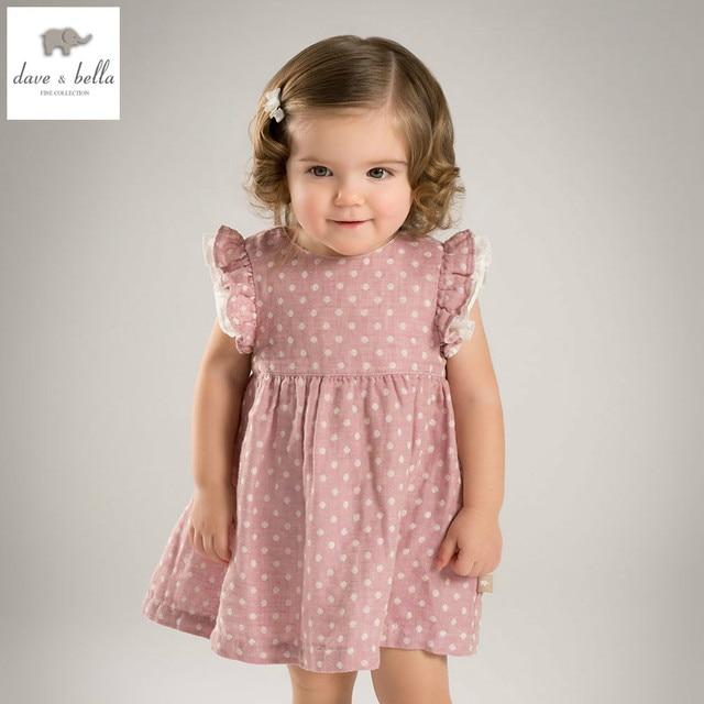 71de45ec75a DB4828 dave bella summer baby girl pink dot princess dress baby wedding dress  kids birthday clothes dress kid lolita costumes