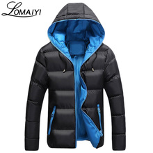 LOMAIYI Fashion Men Parka 2017 Winter Padded Hooded Jacket Coat Warm Men's Windbreaker Youth Black Casual Thick Parkas,BM050
