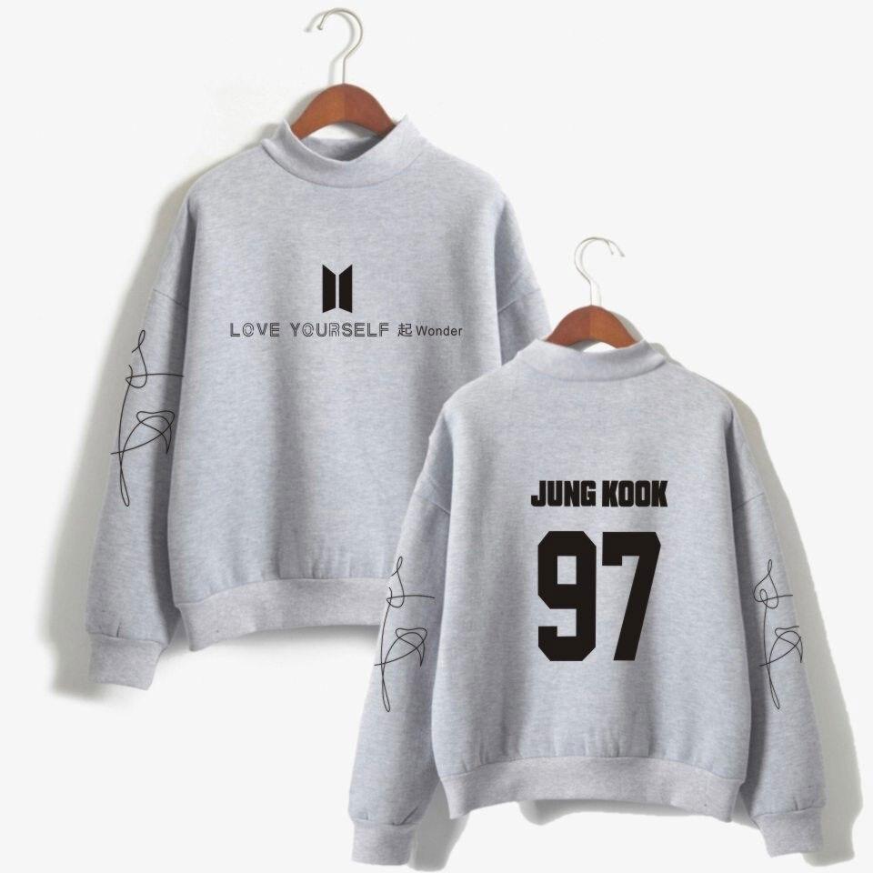 BTS любовь Yourelf Bangtan мальчики новый альбом чудо K-поп свитер с капюшоном Для женщин поклонниц водолазка монолитным толстовка одежда