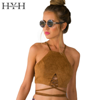 HYH HAOYIHUI Solid Yellow Women Tanks Sleeveless Off Shoulder Square Collar Brief Crop Tops Backless Front
