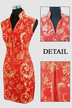 Fashion Red Chinese Bridal Wedding Cheongsam Dress Women's Rayon V-Neck Qipao Totem&Flower Size S M L XL XXL XXXL L017-C