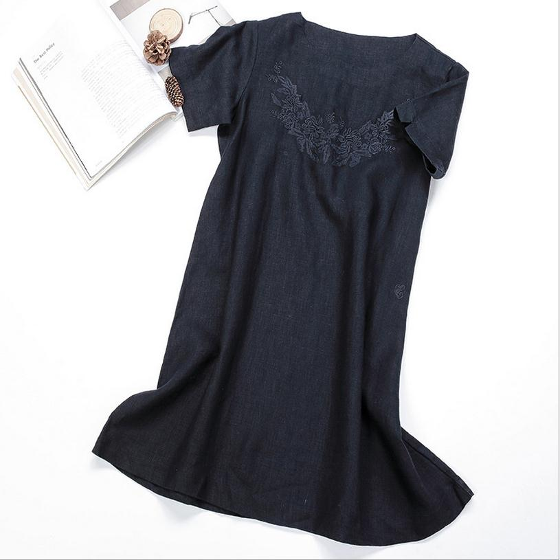 Plus size spring new embroidery cotton linen dress
