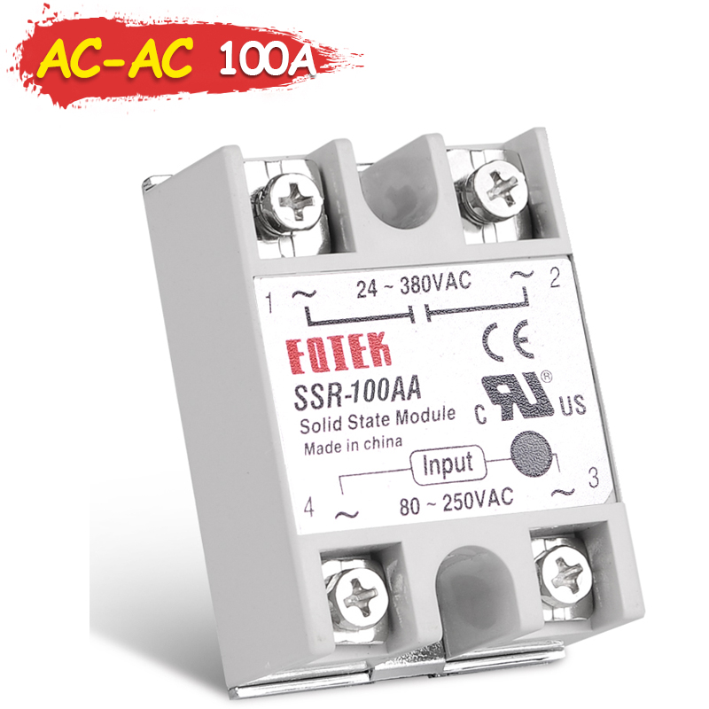 цена на 100A Single Phase Solid State Relay SSR Sinotimer AC-AC 80-250VAC TO 24-380VAC SINOTIMER Without Cover DC-DC DC-AC