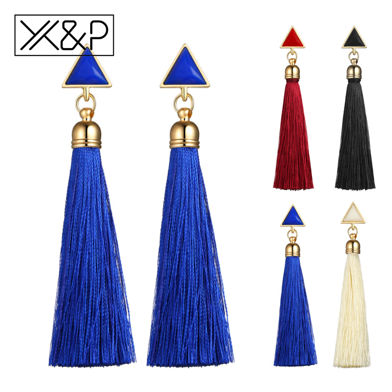 X&P Fashion Bohemian Vintage Earrings Hollow Out Triangle Rhinestone Drop Long Tassel Earrings Jewelry For Women Girl Best Gift