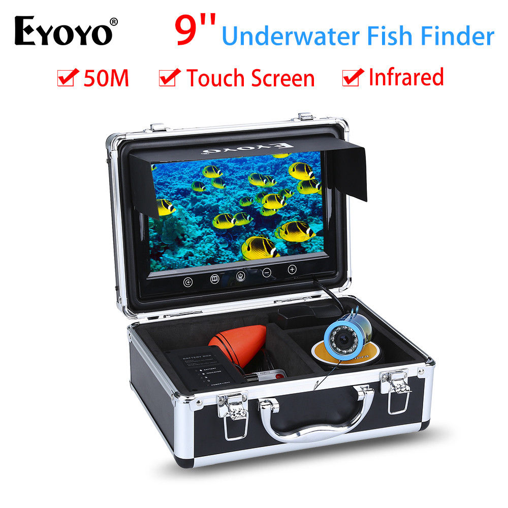 EYOYO 9 50M Touch Screen Infrared IR LED Adjustment Underwater Ocean River Lake Sea Boat Fishing Camera Fishfinder Waterproof eyoyo 930m touch screen infrared hd 1000tvl underwater fishing camera fish finder video fishfinder ocean river sea boat fishing