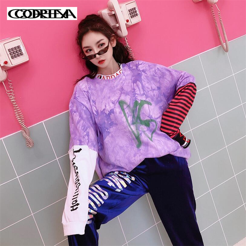 Tie Women Letter Stitching shirt Fashion Printed Tee Streetwear lavender Loose Sleeve Shirt Pink Dyed Autumn Stripe Spring T Long Tops nqZIpWR