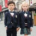 Os novos Alunos, meninos e meninas da escola uniformes ternos estilo Britânico o novo viveiro queda e roupas de inverno roupas para crianças