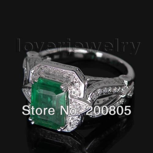 Vintage Emerald Cut 7x9mm 14kt White Gold Diamond Emerald Ring Genuine Gem Fine Jewelry for Party Wedding SR0011B