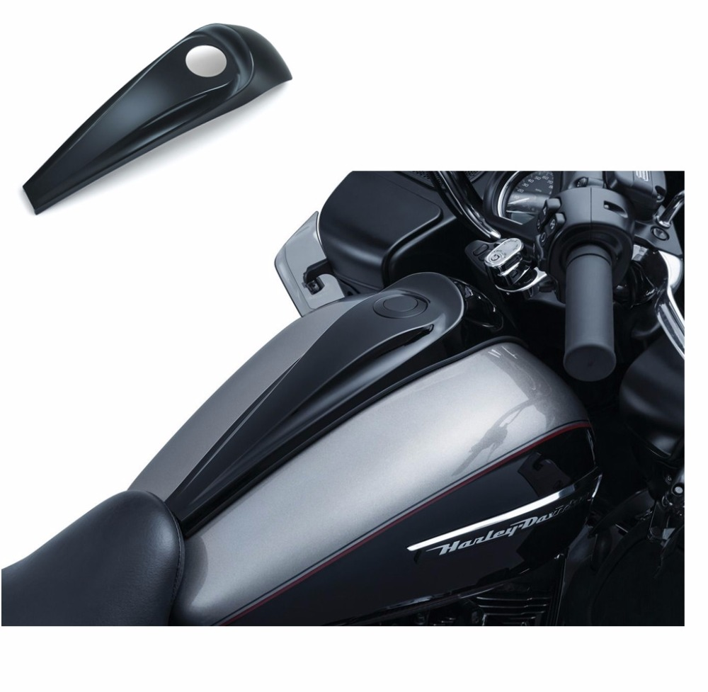Motorcycle Fuel Tank Oil Gas cover Gloss Black Signature Smooth Dash for Harley Street Road Glide 2008-2017 motorcycle parts chrome smooth dash fuel tank console for harley touring electra street road glide flht 2008 2018 undefined