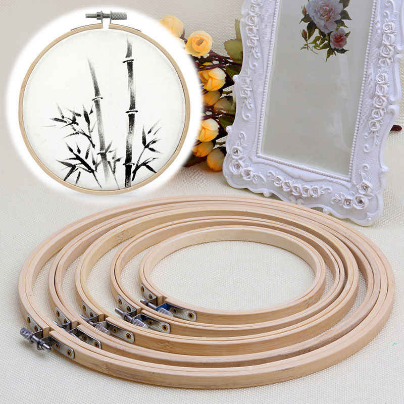 1 PC 5 Ukuran Bambu Bordir Hoop Cincin DIY Cross Stitch Jarum Alat Kerajinan Kayu Handy Cross Alat Alat Mesin