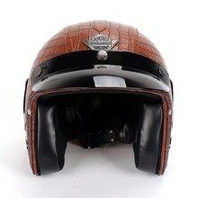 LMoDri Unisex Motorcycle Retro Helmet Harley Motorbike 3/4 Leather Comfortable Multiple Style Helmets