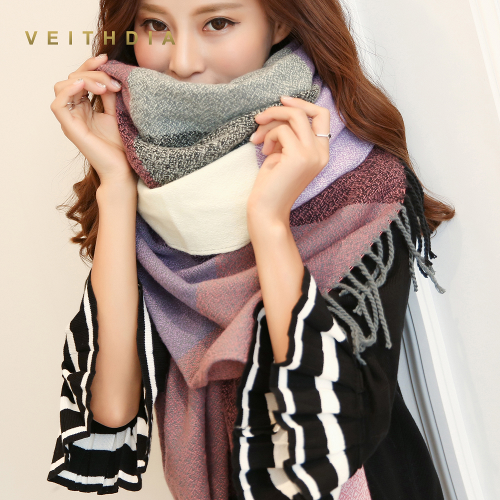 9fa0b413b VEITHDIA 2019 Autumn Winter Female Wool Scarf Women Cashmere Scarves Wide  Lattices Long Shawl Wrap Blanket Warm Tippet wholesale