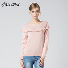 Mix Wind 2017 Autumn And Winter New Women's Round Neck Hollowed Wooden Ear Backing Sweater Loose Outside Fashion