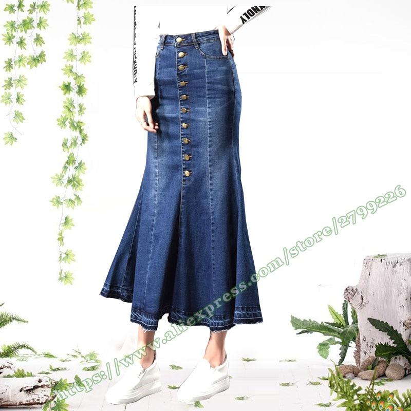 2018 Plus Size Autumn Retro Vintage Fashion Office Korean Button female ladies Sexy Long Maxi Jeans