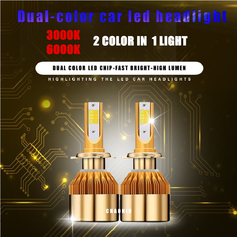 new! dual color <font><b>3000k</b></font> 6000K H4 H7 H11 H1 H13 H3 9005 9006 9012 COB LED Car Headlight <font><b>Bulb</b></font> Hi-Lo Beam 38w Auto HB3 <font><b>HB4</b></font> headlight image