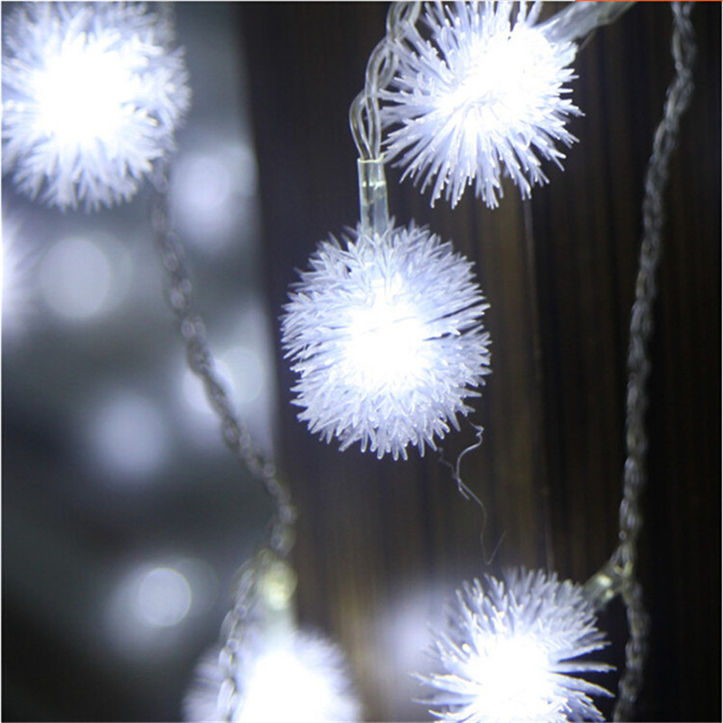 10M 100Leds Snowflake Furry Ball Chuzzle Ball  String Light For Indoor Home Lawn Garden Patio Party And Halloween Decor