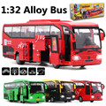 1:32 alloy model buses, educational toys, sound and light back to power high simulation model, free shipping