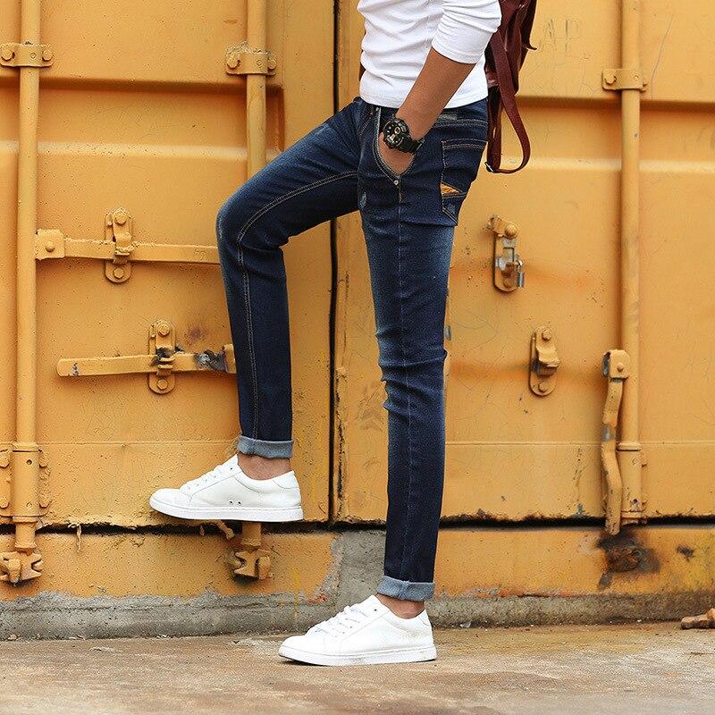 ФОТО Korean 2016 elastic cotton men's jeans autumn winter cowboy denim pencil stretch pants  men's  jeans wholesale manufacturers Y48