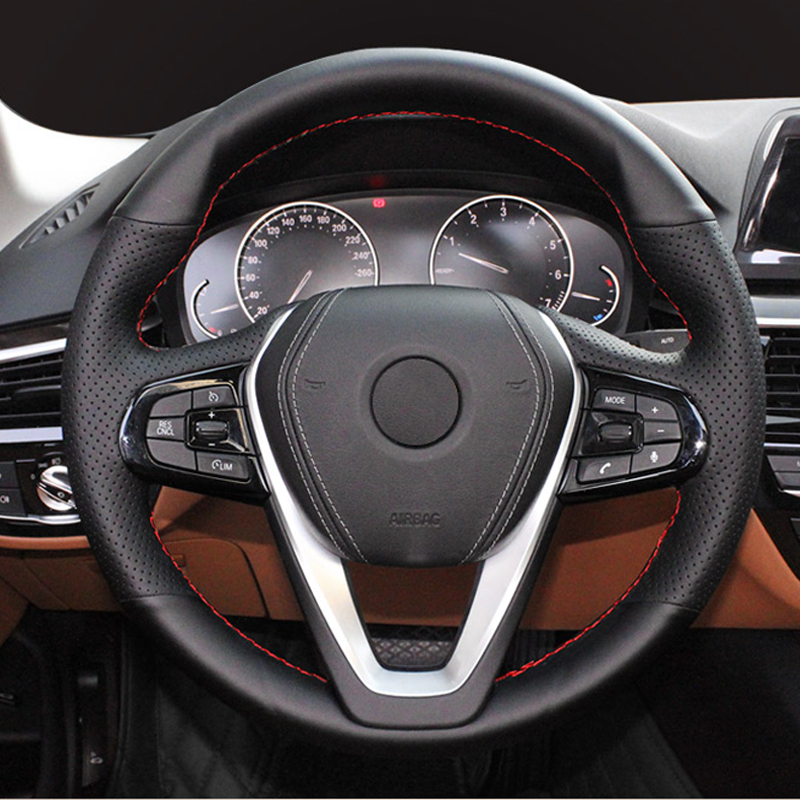 High Quality cowhide Top Layer Leather handmade Sewing Steering wheel covers For <font><b>BMW</b></font> <font><b>G30</b></font> <font><b>530i</b></font> 540i 520d 530e G32 GT 630i 630d image