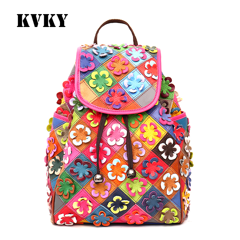 Sky fantasy fashion genuine leather flower panelled cross girls backpacks black and white casual classic vogue