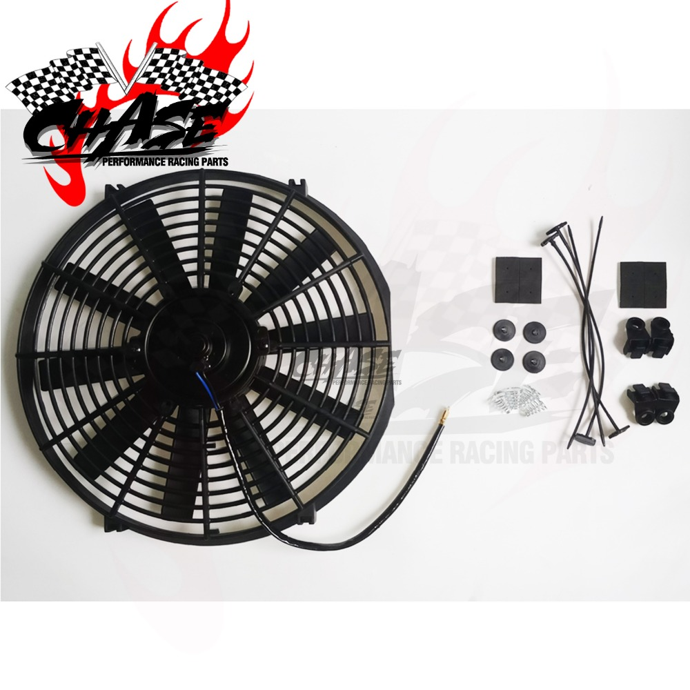 12V 80W 2100RPM Straight Black Blade Electric Oil Cooling Radiator Fan Mounting Kit Universal 12 inch